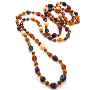 Beaded Necklace Bone Glass Stone Brown Blue Purple